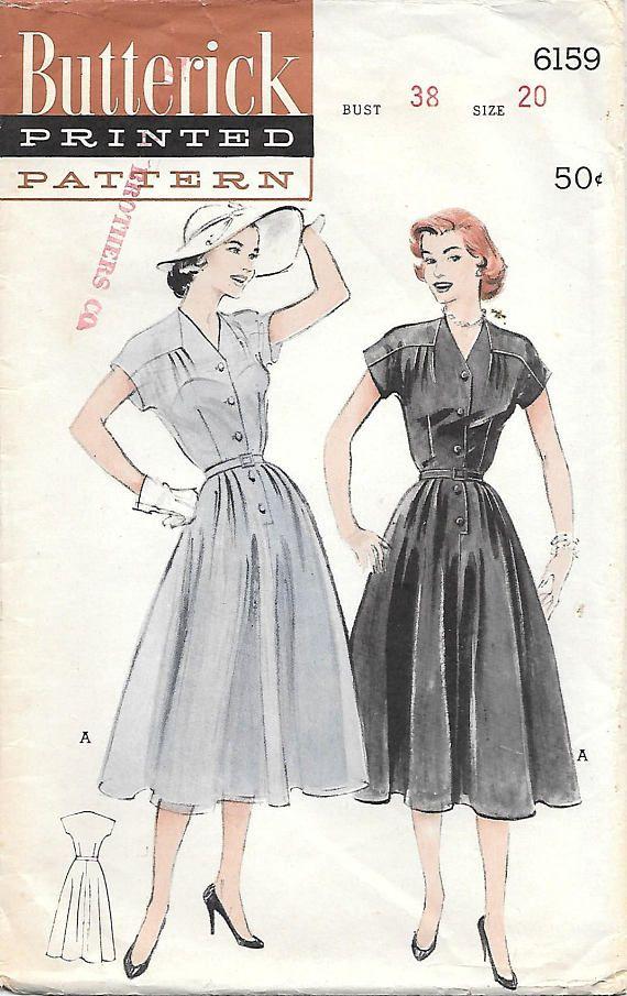 Size 20 Butterick 6159 1950s Lovely V Neck Dress with Soft Yoke ...
