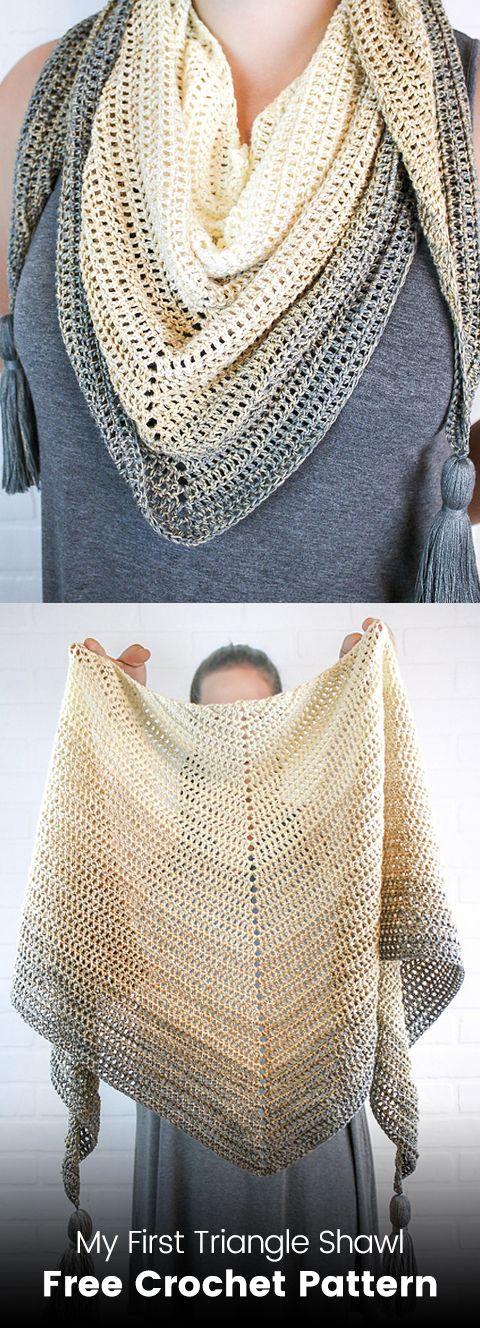 My First Triangle Shawl Free Crochet Pattern | crochet | Pinterest ...