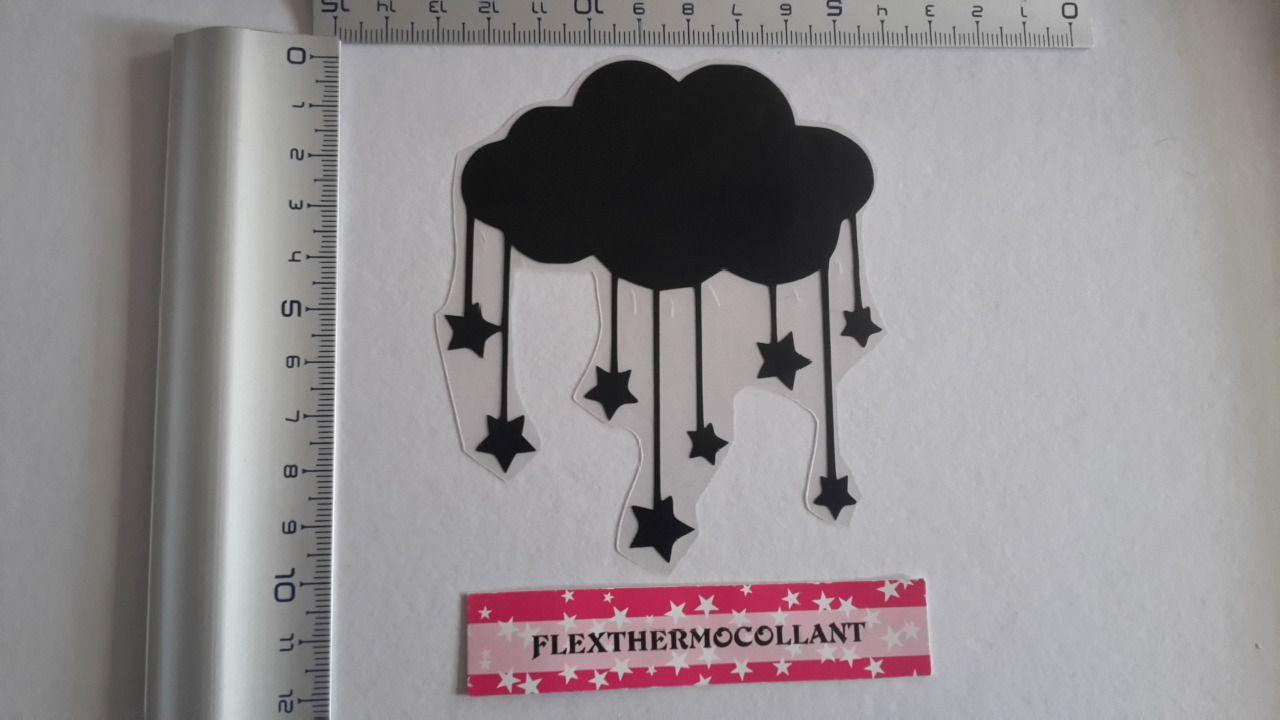 Applique thermocollant motif Nuage étoilé noir à repasser en tissu flex thermocollant : Déco, Customisation Textile par flexthermocollant