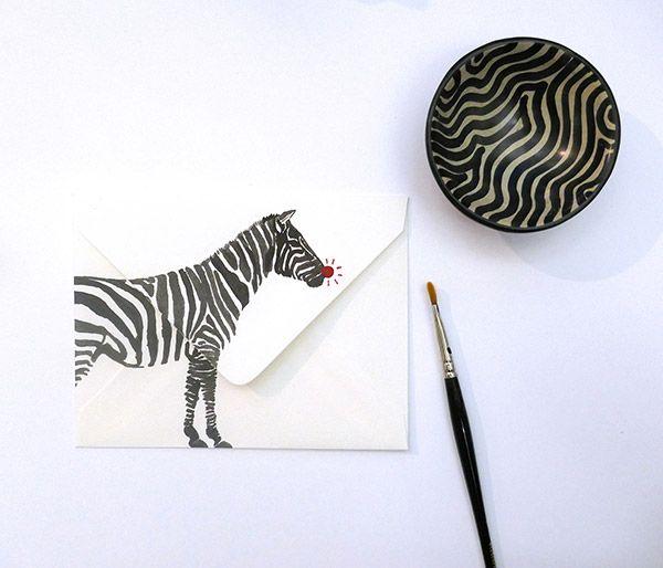 Inspiration Briefumschlag mit großem zebra-bild drauf