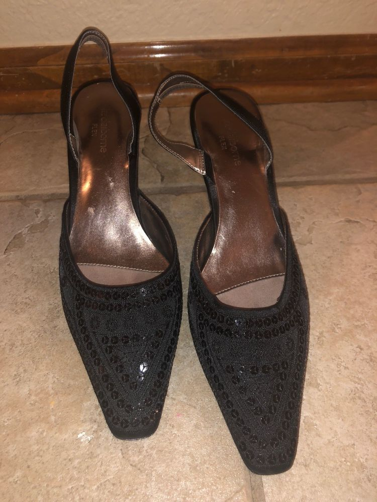 b06573ae66a Liz Claiborne Flex Shoe Size 8.5Women Sarong Black Sequin Sling Back Pointy  Toe  fashion  clothing  shoes  accessories  womensshoes  heels (ebay link)