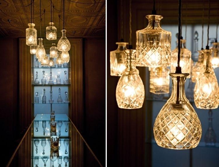 Kronleuchter Mit Lampenschirm ~ Lampenschirm basteln glas alt flasche kristallflasche