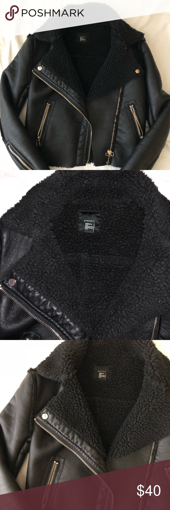 Forever 21 shearling faux leather jacket (With images