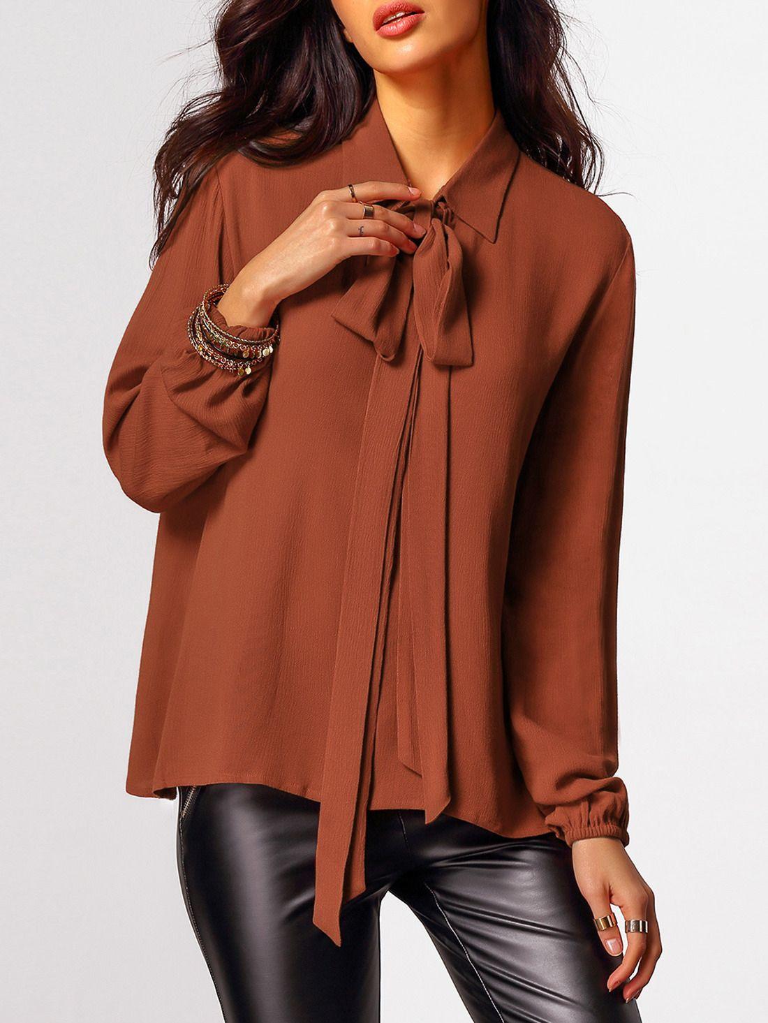 1e1c366a4 Blusa manga larga de mujer color marrón oscuro de SheIn