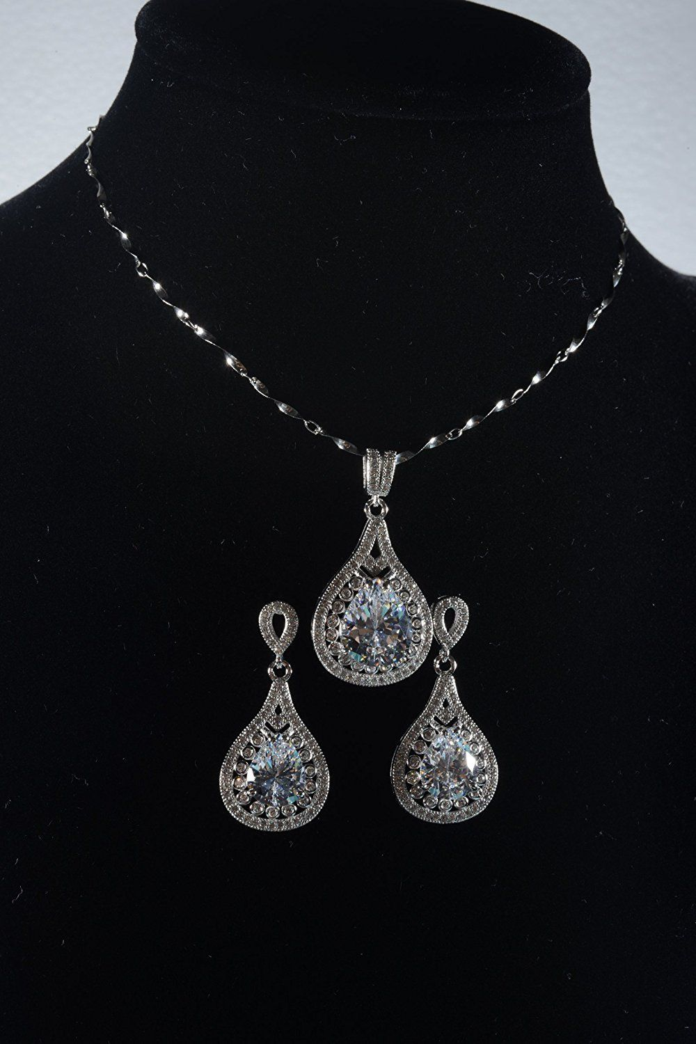 Wedding jewelry sets diamond zircon earrings pendant set