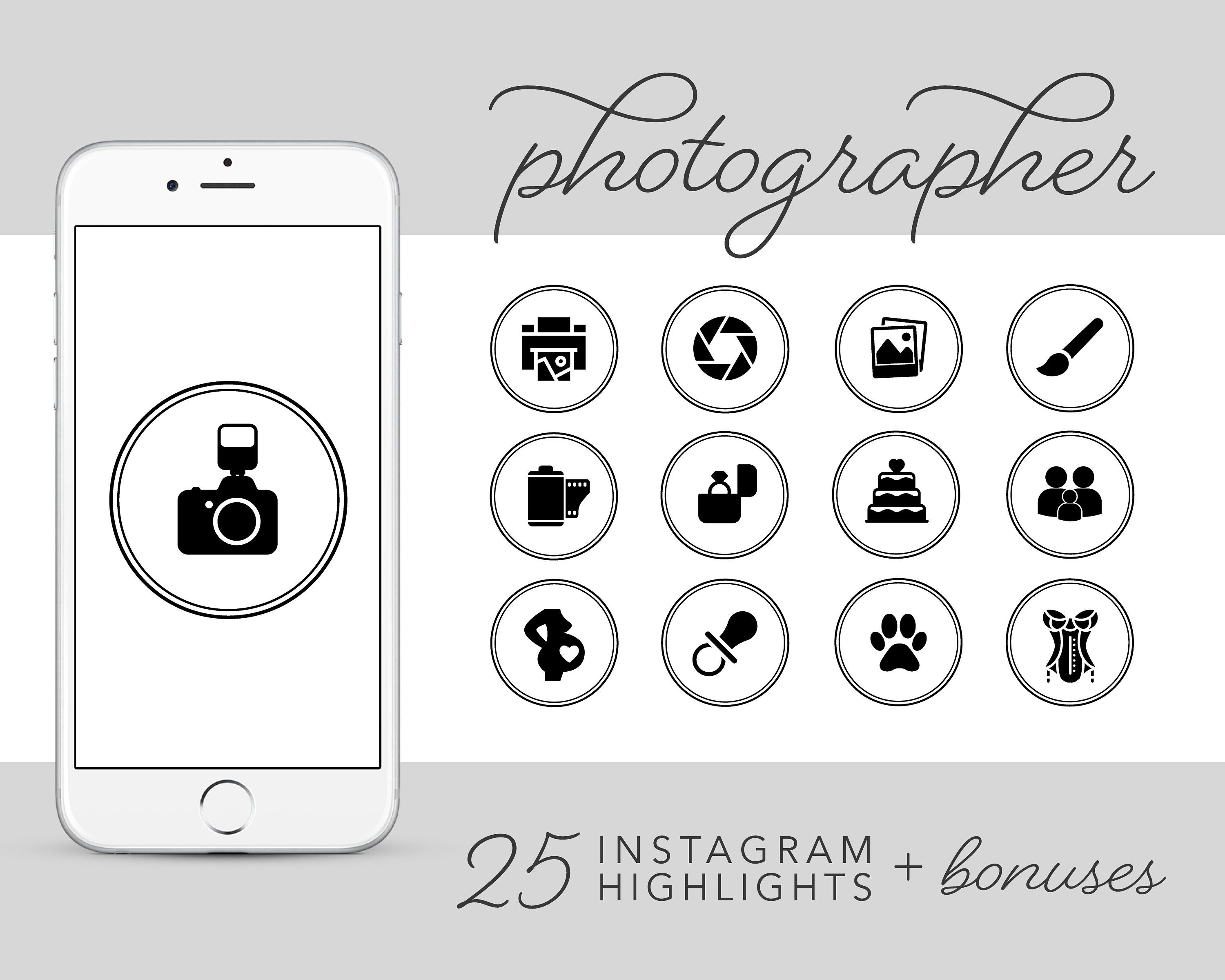 Photographer Instagram Story Highlights Icons, Black