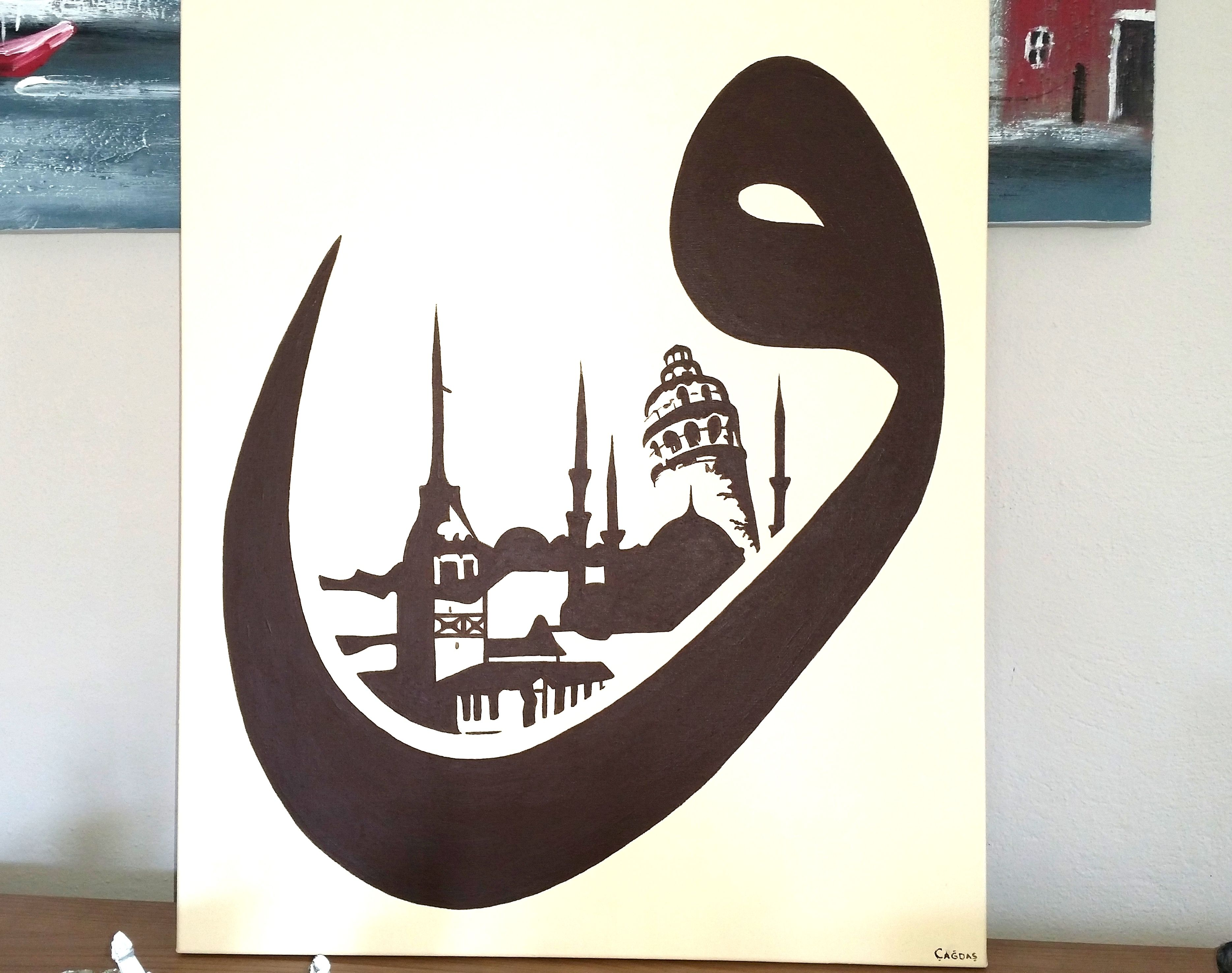 Vav Icinde Istanbul Tuval Uzerine Akrilik Boya Referanslidir