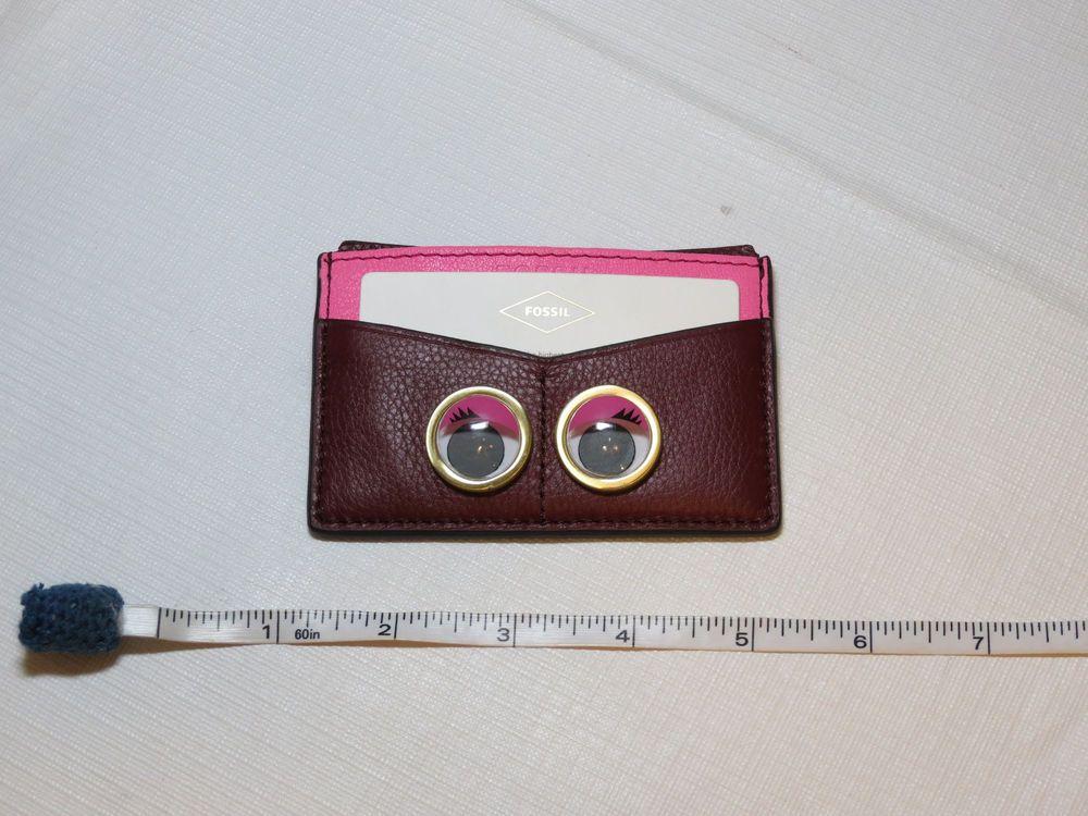 Fossil SL7277609 Card Case Eyes Wine pink burgundy mini wallet ...
