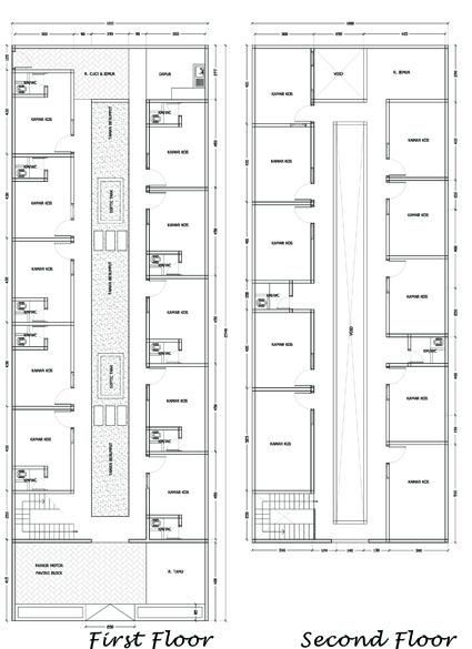 Denah Rumah Kost Sederhana 2 Lantai Desain Kamar Hotel Denah Lantai Rumah Rumah