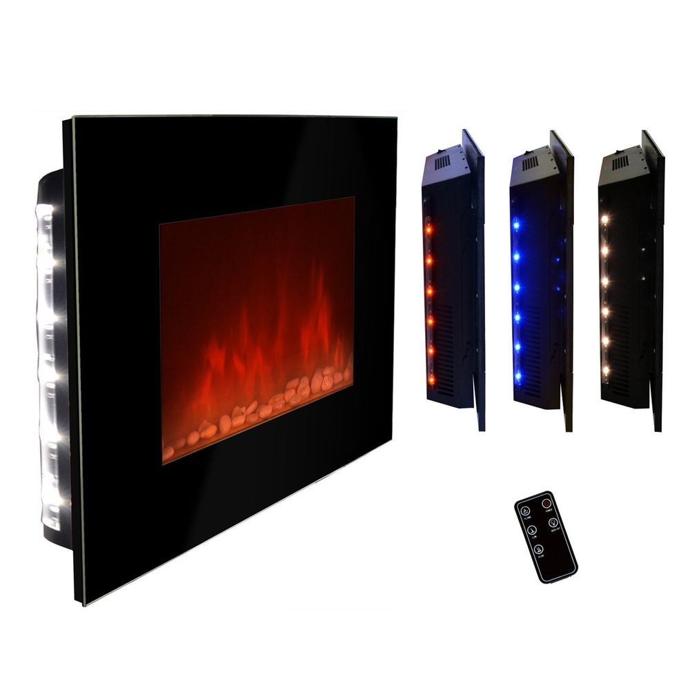 Akdy 36 Led Wall Mount Electric Fireplace Modern Space Heater Flat Tempered Gl Wall Mount Electric Fireplace Modern Fireplace Glass Fireplace