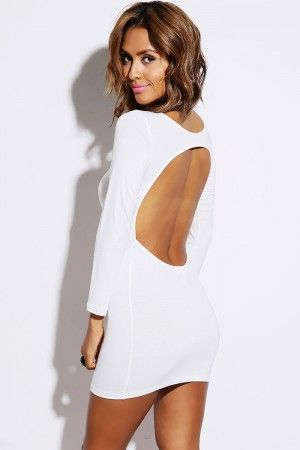 Bright White Backless Fitted Long Sleeve Clubbing Mini Dress Mini Dress Long Sleeve Mini Dress Short Mini Dress