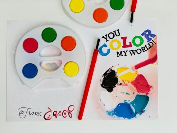 KIDS VALENTINES You Color My World - Watercolor Artist Palette Card - School Valentine - Valentine F #colorpalettecopies