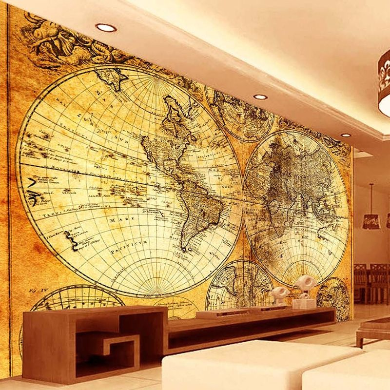 European Style Vintage World Map Photo Mural Wallpaper Living Room Study Landscape Backdrop Wall Decor