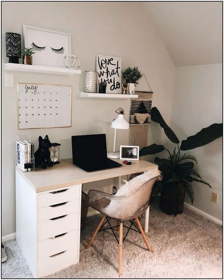 Cute Officedesk Ideas: M- Shelves, Whiteboard Calendar, Plants