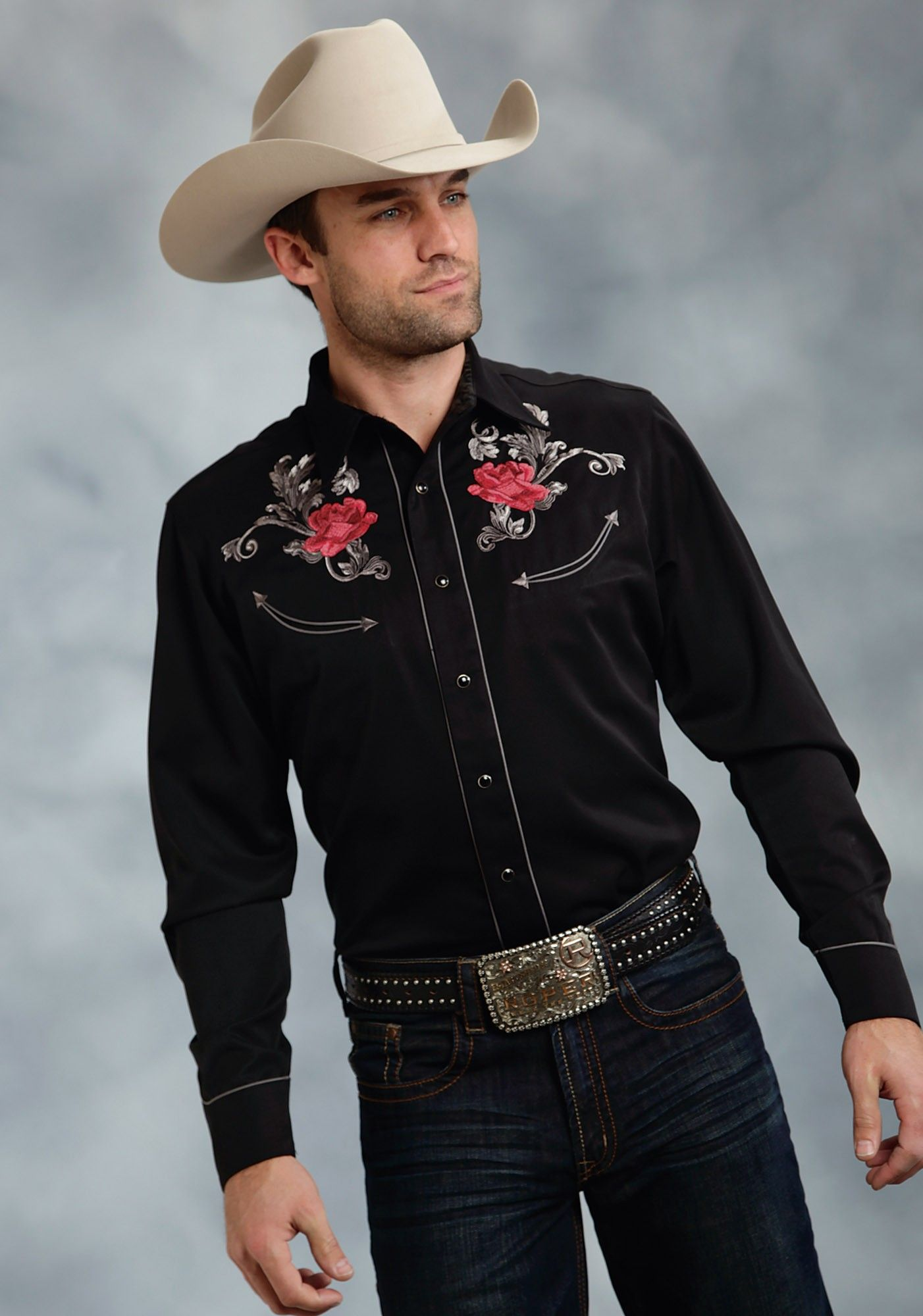 274c3ba3 Mens Embroidered Western Shirt -