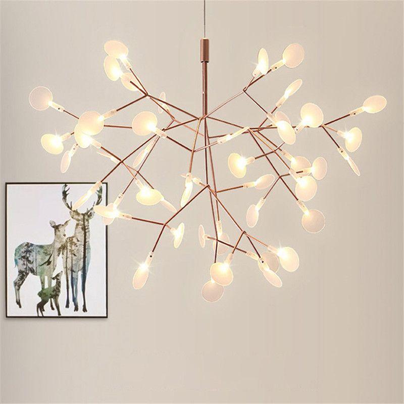 Art Led Firefly Pendant Light Modern Creative Snowflake Tree Leaf Branches Lamps Acrylic For Living Room Kithcen