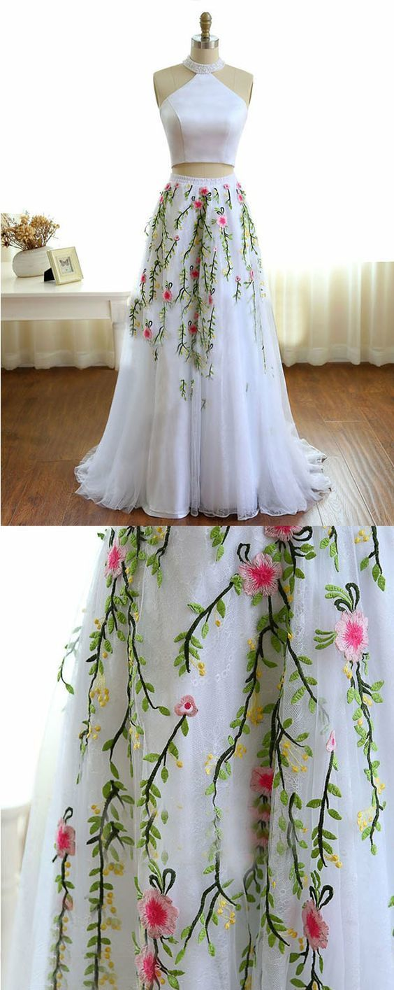 High neck white prom dress with beading embroidery two piece formal