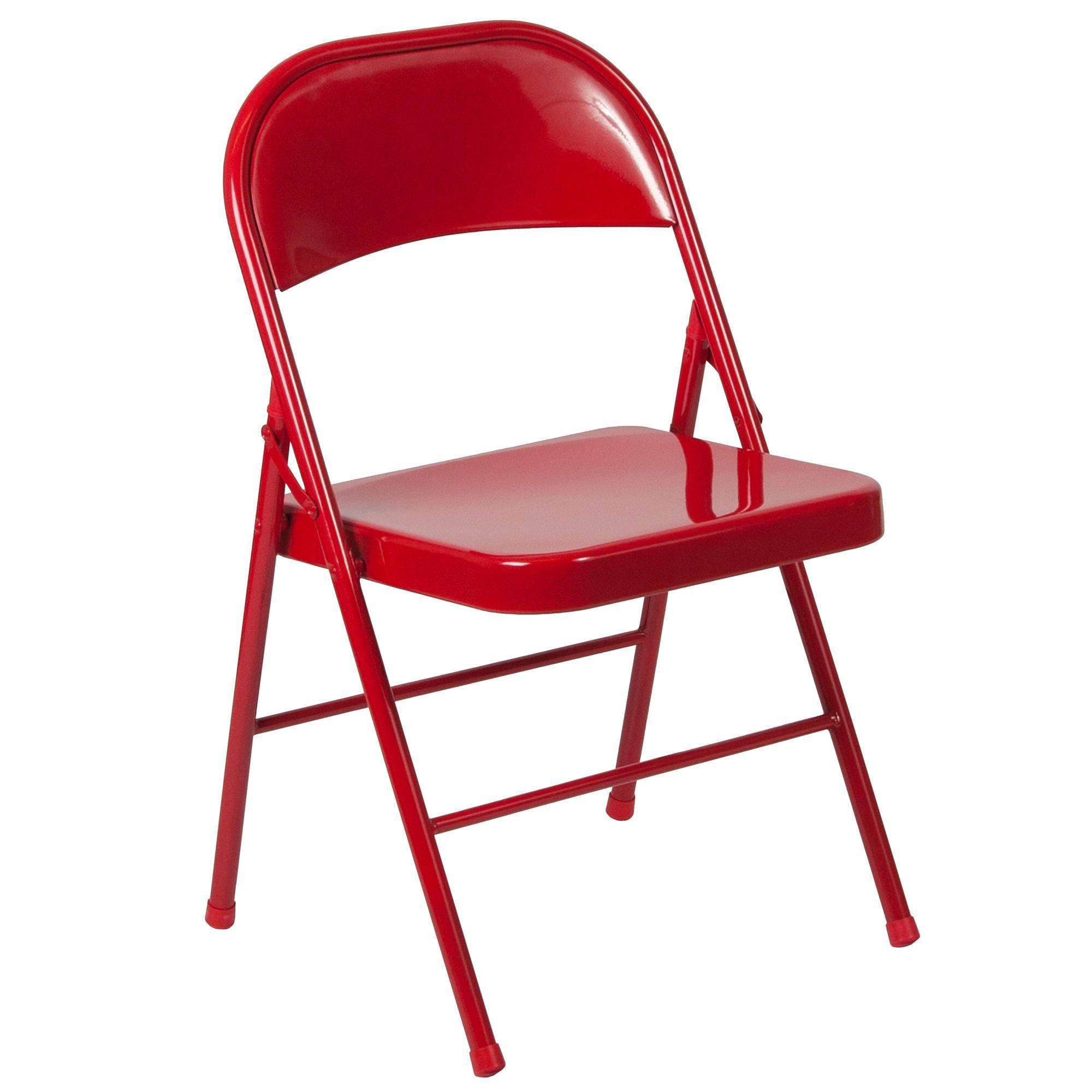 Hercules Series Double Braced Red Metal Folding Chair Metal