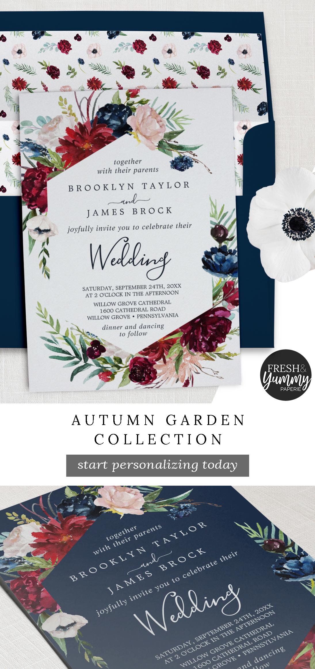 Autumn Garden   Burgundy Wedding Invitation   Zazzle.com