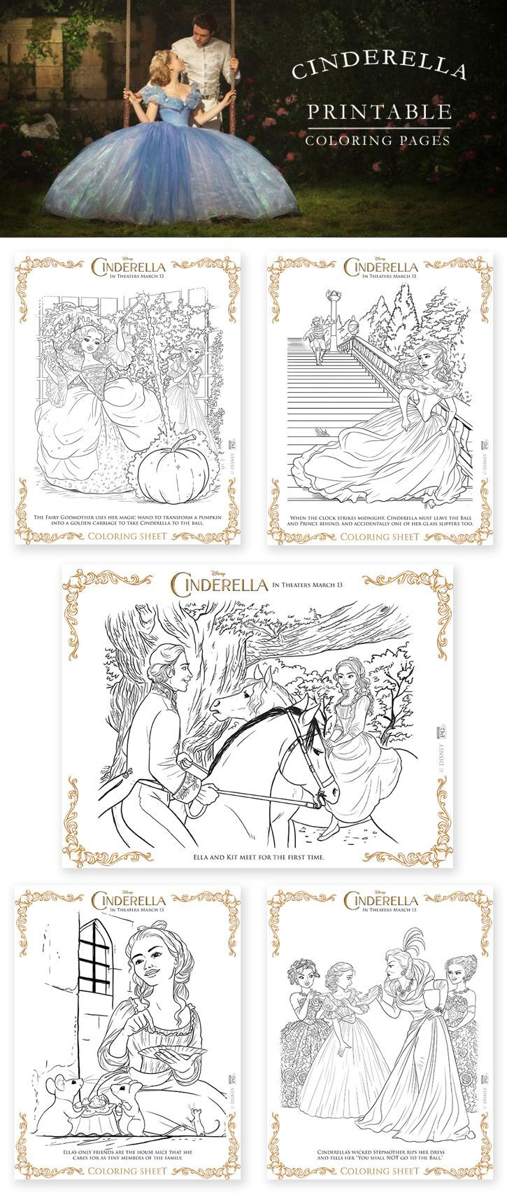 New disney coloring pages - Free Printable Coloring Pages From The New Disney Live Action Cinderella Movie