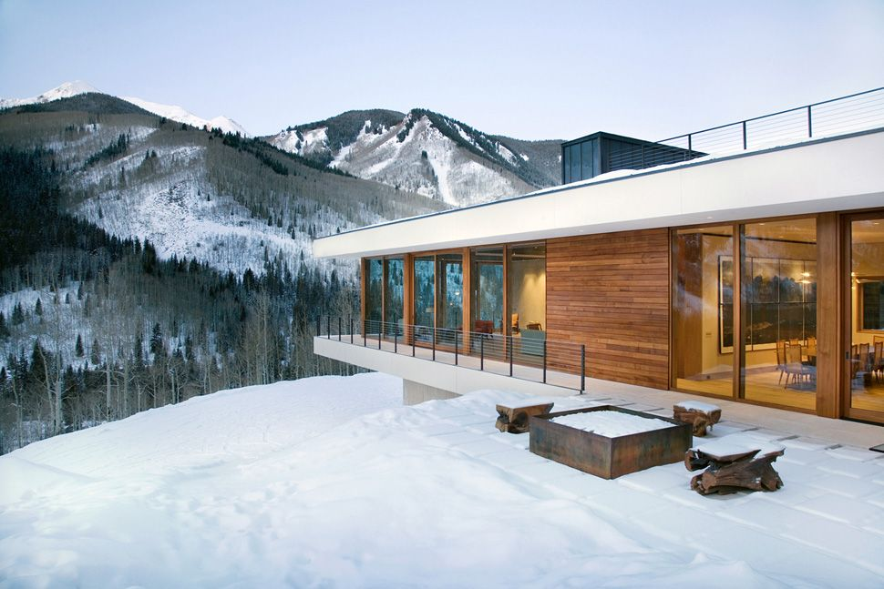 Linear Mountain House of Wood Glass and Chalet Charm Mountain