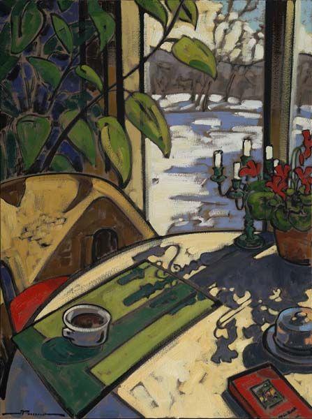 Jeannette Perreault Soleil D Hiver Peintre Art Contemporain