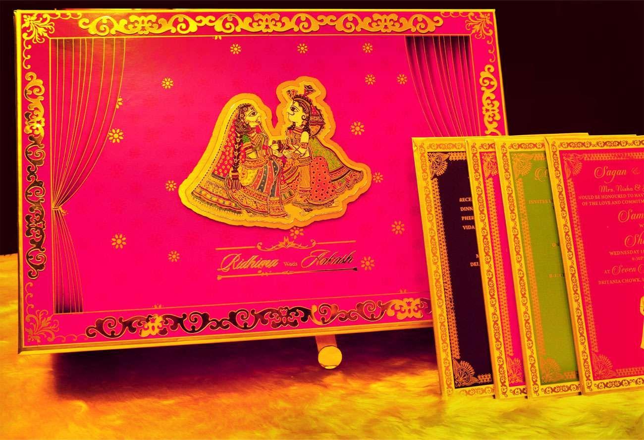 Madhubani Pink #invitationcard #newdelhi #weddinginvitation ...
