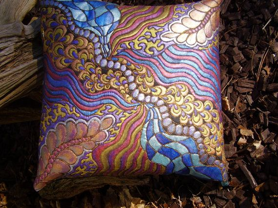 Hand painted and quilted decorative pillow by sandydekker1 on Etsy