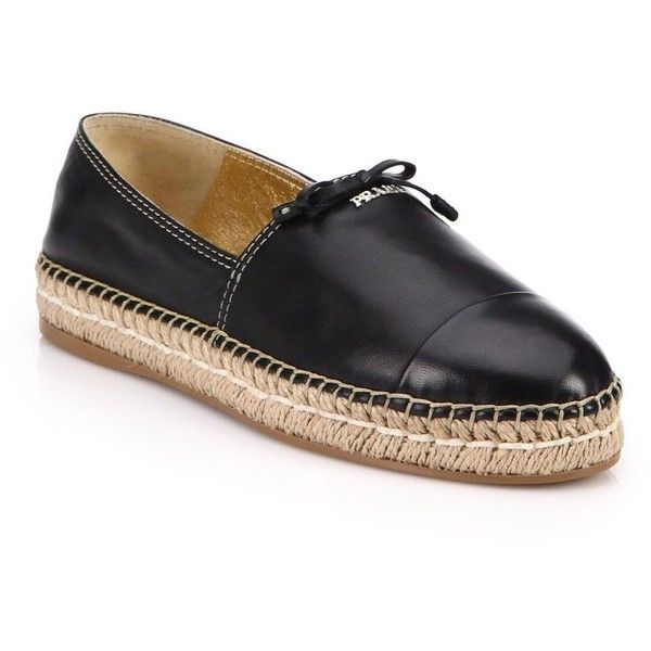 Prada Leather Espadrille Flats ($535) ❤ liked on Polyvore featuring shoes, flats, apparel & accessories, flat shoes, slip on flats, espadrilles shoes, flat pumps and espadrille flats