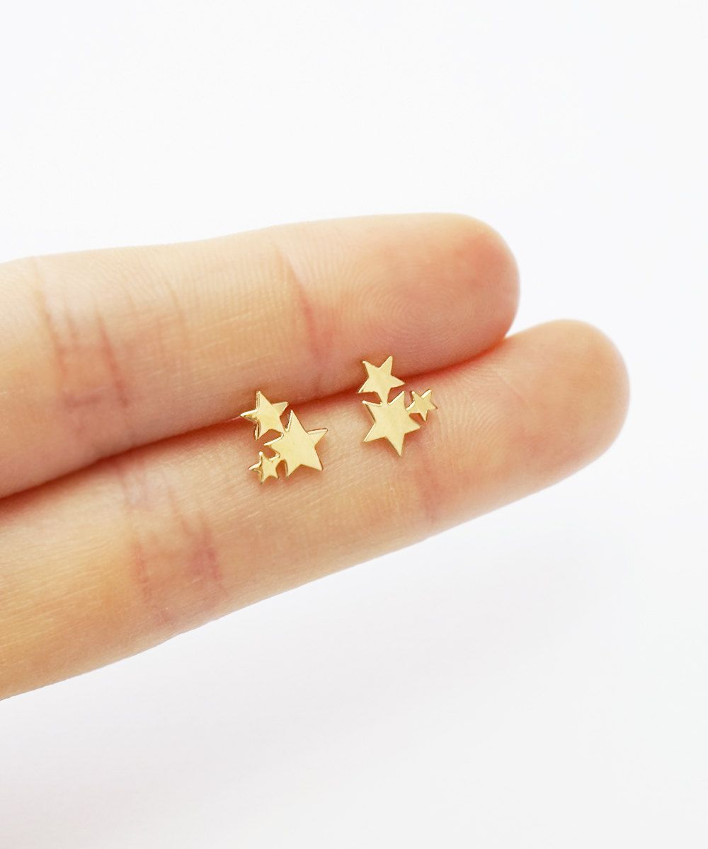 Gold galaxy earrings,sterling silver earrings,star stud,simple ...