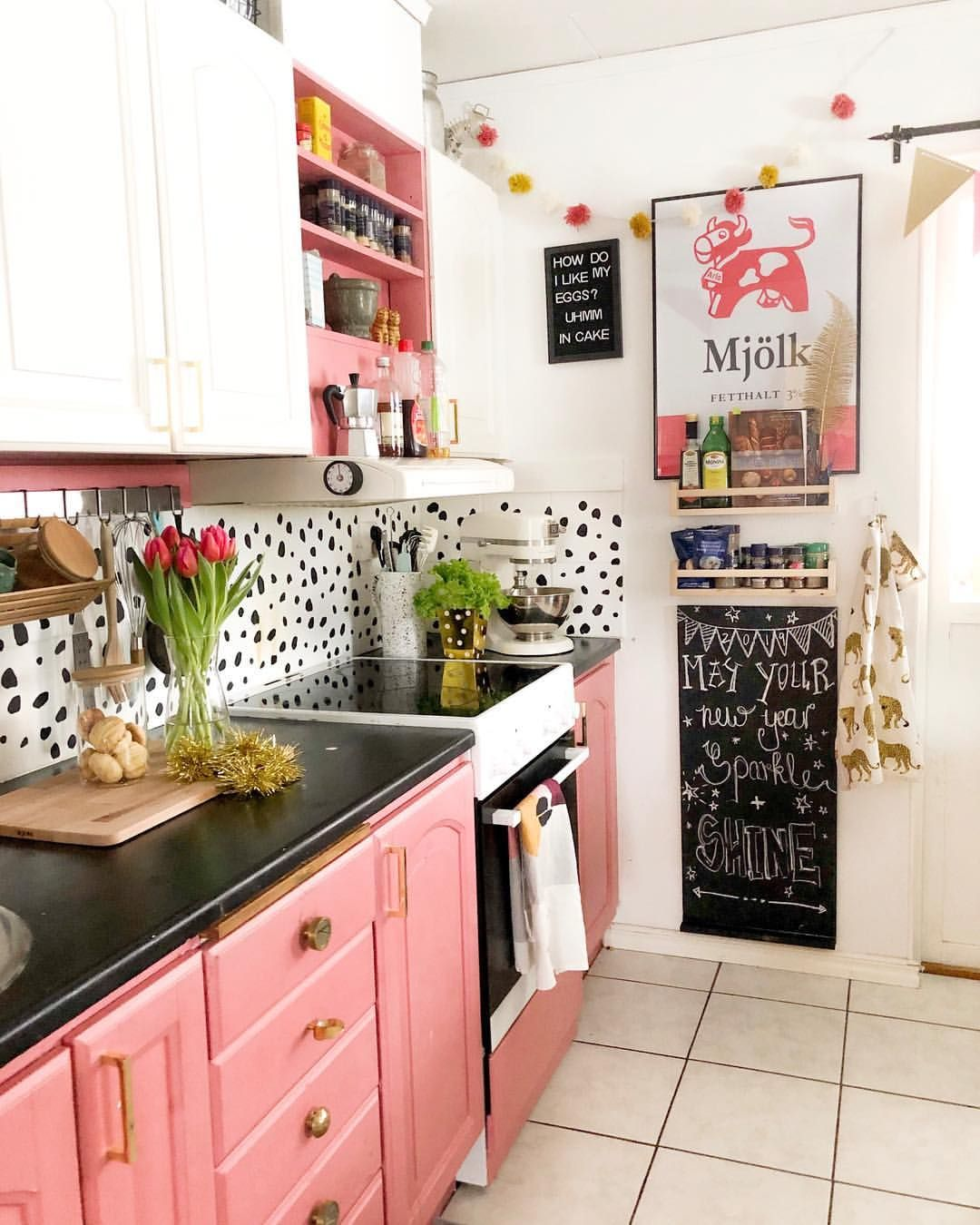 It S The Last Day Before 2019 Who S Excited With Me We Re Off To Pick Up The Visitors From Boho Style Kitchen Interior Design Kitchen Pink Kitchen Cabinets