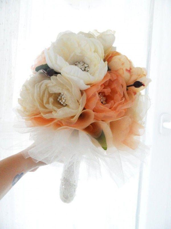 Brides bouquet peach google search bouquets corsages diy silk flower wedding bouquets wedding and bridal inspiration mightylinksfo