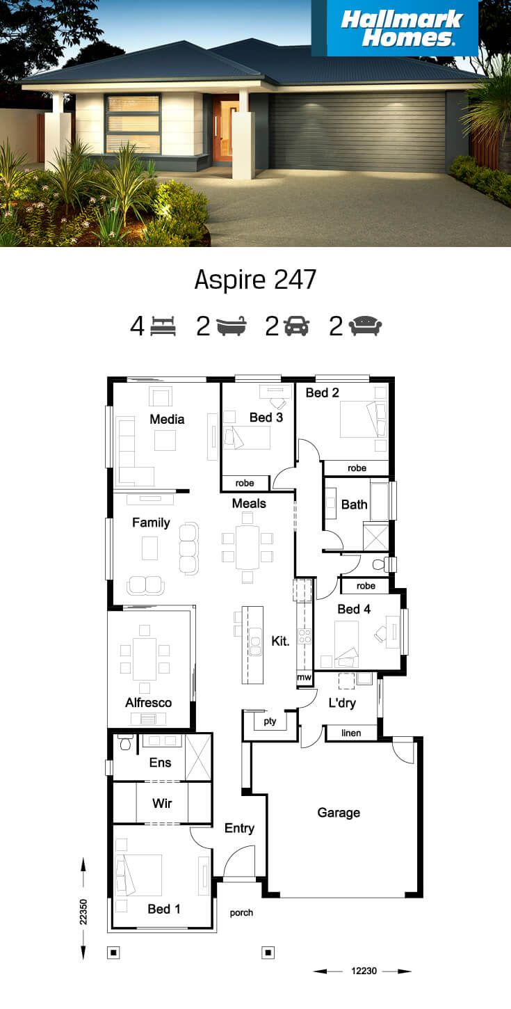 The Heart Of The Home Is Highlighted In The Aspire 247 A Fantastic Open Plan Kitchen With Large Isla Home Design Floor Plans My House Plans Family House Plans