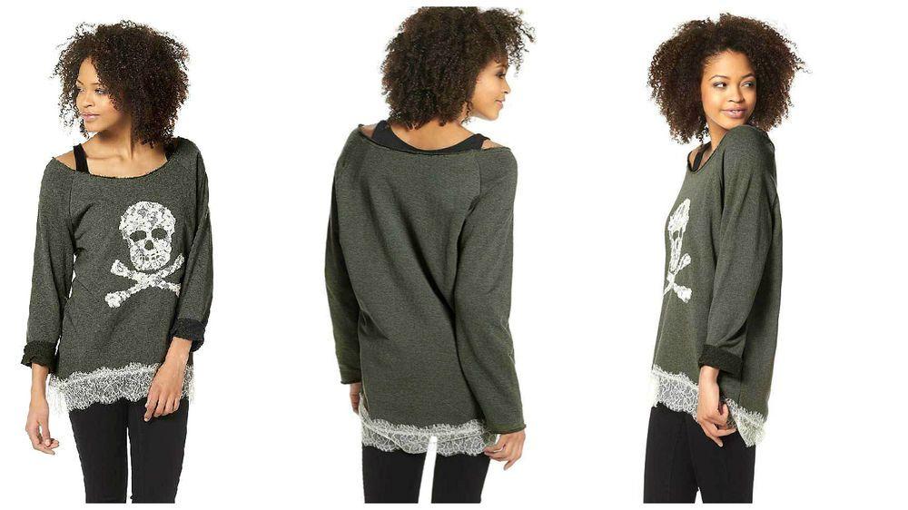 Totenkopf Sweatshirt Oversize Oberteil Top khaki LONGSHIRT Gr.36,38,40,42,44 NEU