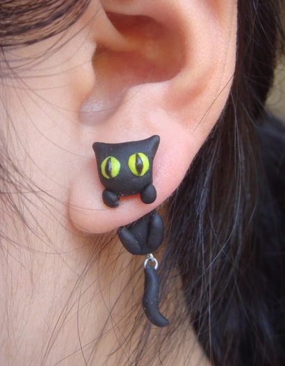 Black Cat Earrings Too Cute