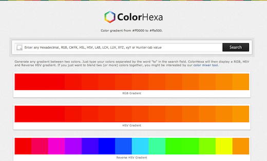 ColorHexa is a color encyclopedia, with CSS gradients, blends, schemes and more