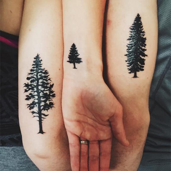 225 Heartwarming Family Tattoo Ideas That Show Your Love: Black Ink Simple Brother Sister Christmas Tree Tattoo