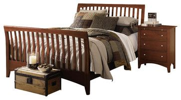 Kincaid Gathering House Solid Wood Queen Sleigh Bed In Cherry Furniture Bedroom Furniture Discounts Living Room Sets Furniture Furniture Cherry Furniture