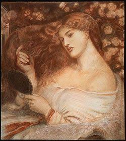 """Dante Gabriel Rossetti, Lilith, 1867, Colored chalk on paper, 28 x 24"""""""