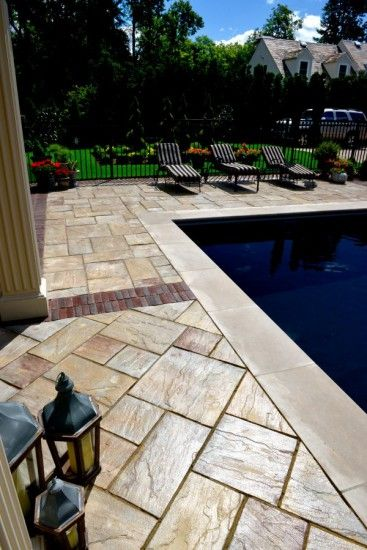 Unilock Rivenstone Paver Pool Deck With Copthorne Accent