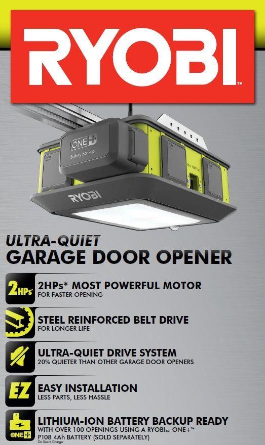 Ryobi Ultra Quiet Garage Door Opener Gd200 The Home Depot Quiet Garage Door Opener Diy Garage Plans Garage Door Opener