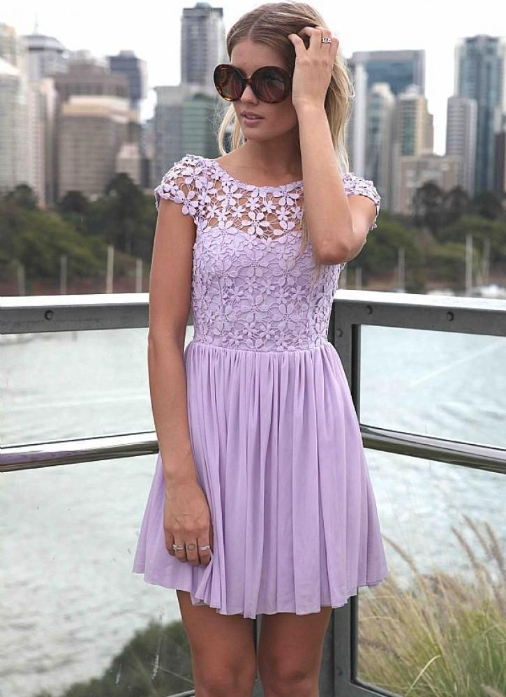 Purple Day Dress - Purple Embroidered Lace Top Dress | Occasion and ...