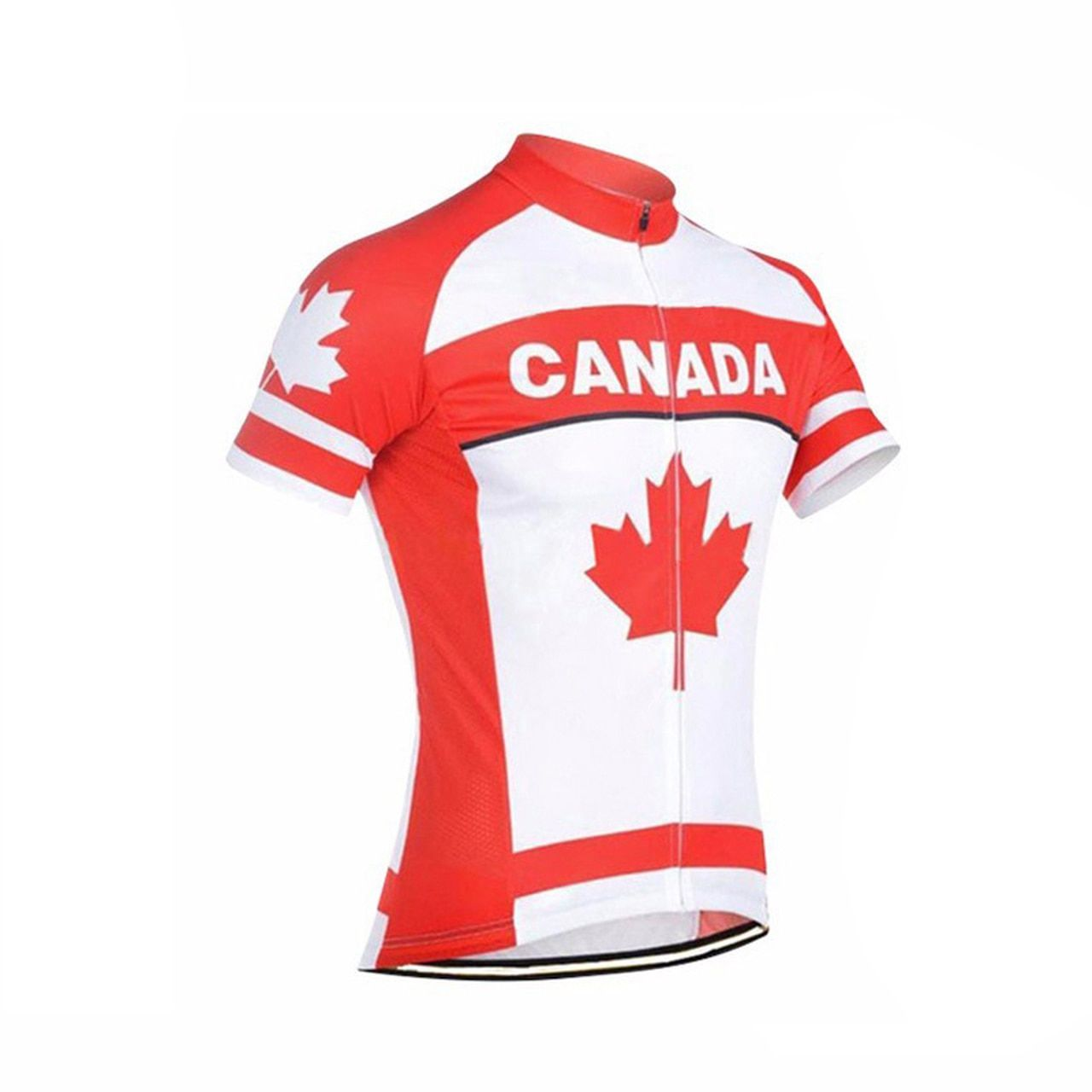 Maple leaf Canada Flag Men's Cycling Jersey White Red in