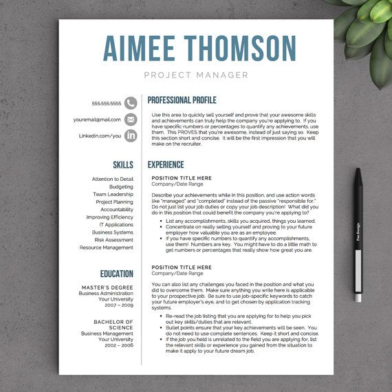 Contemporary Resume Templates Creative Resume Template For Word & Pages  1 2 And 3 Page Resume