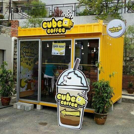 Container Coffee Cubecoffee Penang Malaysia Desain Restoran Kedai Kopi Ide