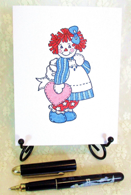 raggedy ann card by hollenmarkcarddesign on etsy cartoons