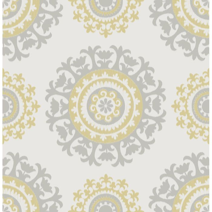 You Ll Love The Grey And Yellow Suzani Peel And Stick Wallpaper At Wayfair Great Deals On All Decor Products With Free Sh Nuwallpaper Suzani Vinyl Wallpaper