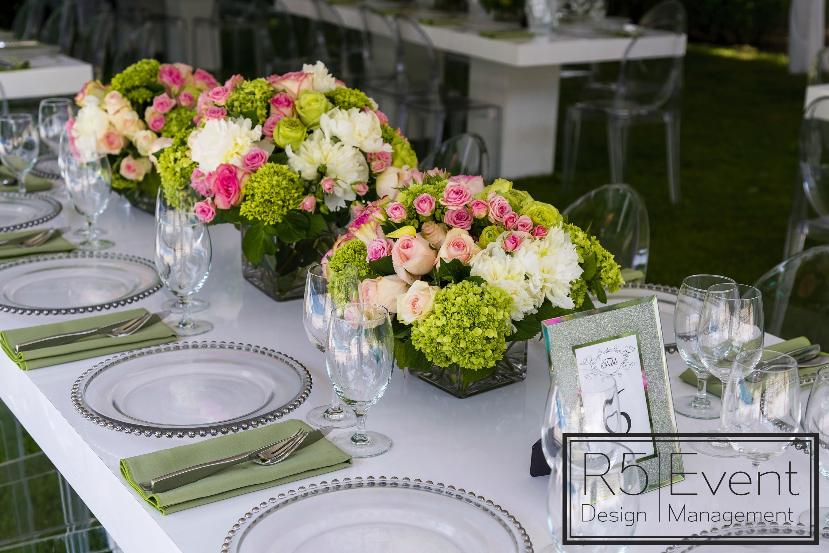 Bridal Shower Flower Arrangements With Green, White & Pink Flowers