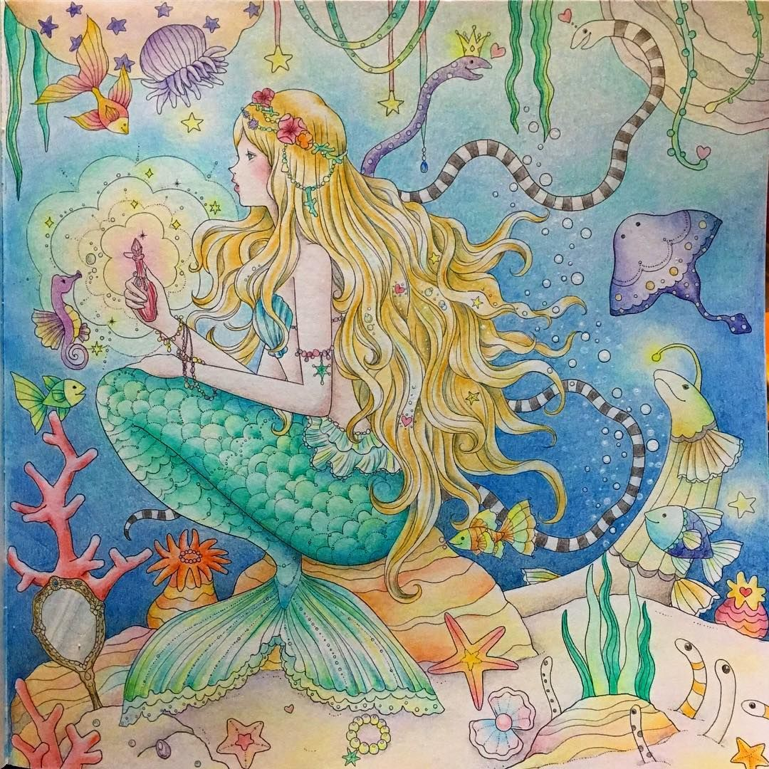 Gefallt 330 Mal 56 Kommentare ぽち Pochi5631 Auf Instagram 完成 人魚姫 大人の 塗り絵 コリアージュ Coloriage Coloringbook 油性色鉛筆 色鉛筆 夢 Coloring Books Art Romantic Princess