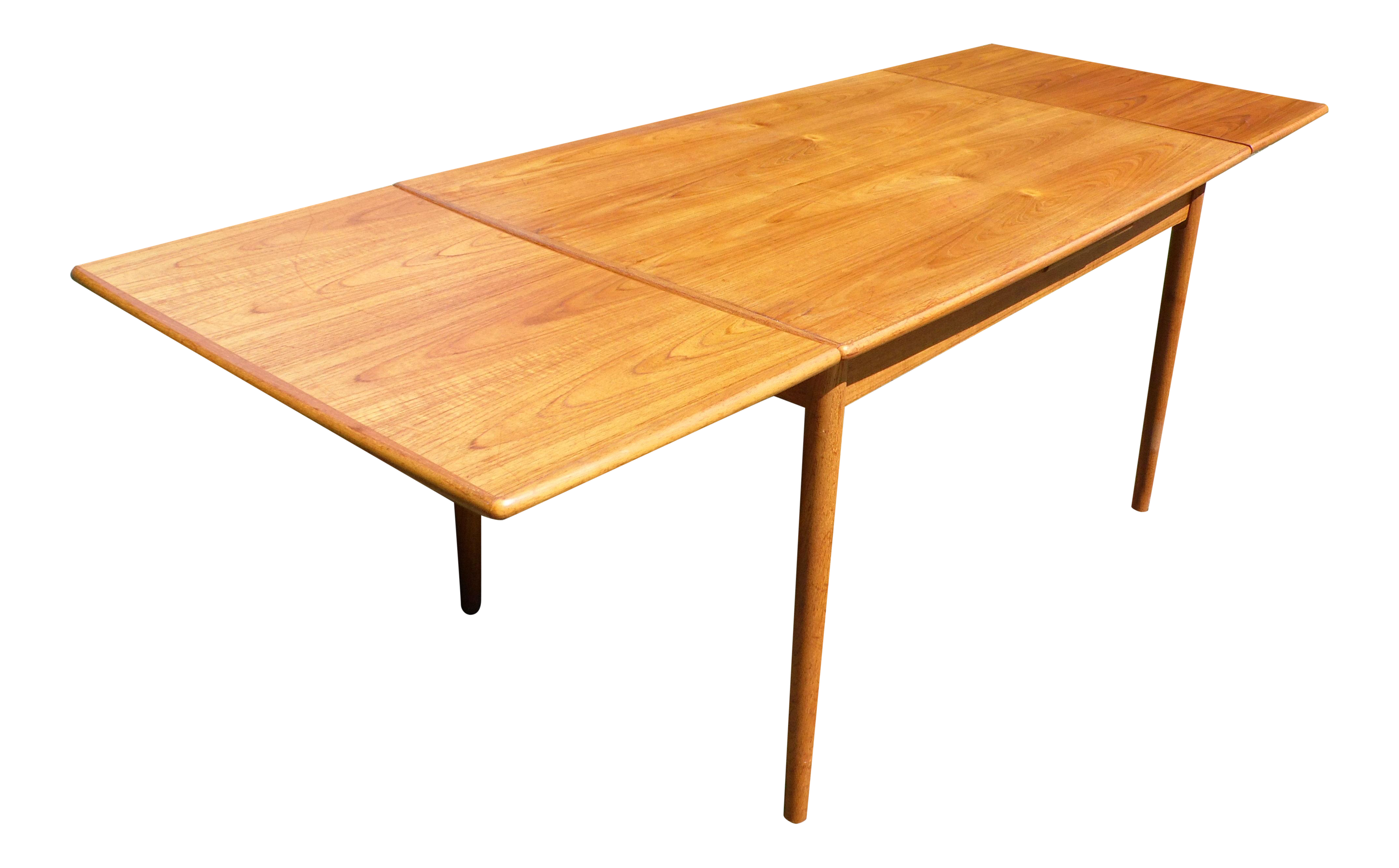 This Vintage Danish Modern Teak Extension Dining Table Features 2 Pull Out Extending Leaves Has